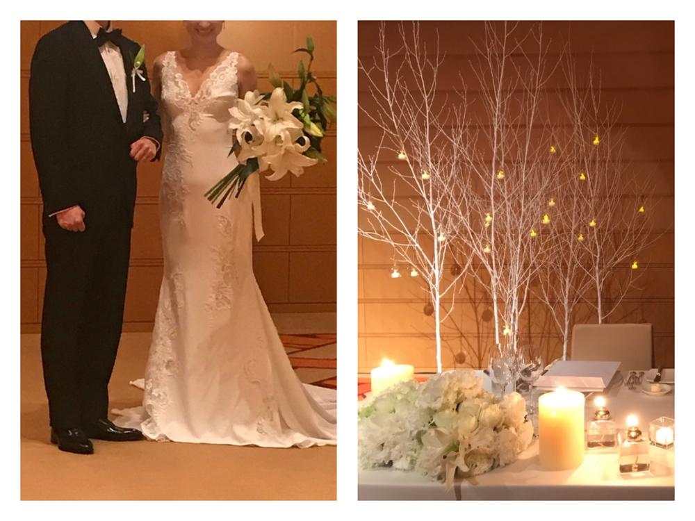 ゴージャスなゆりと、白木の組み合わせが美しいウィンターウェディング
