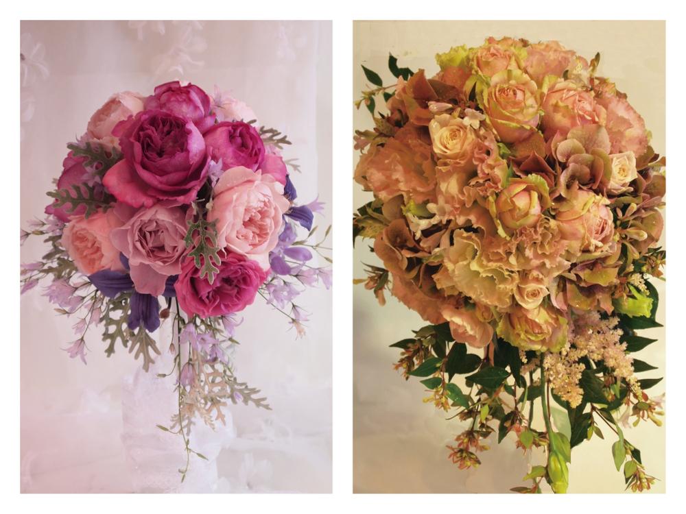 ピンクのバラを使ったウェディングブーケ